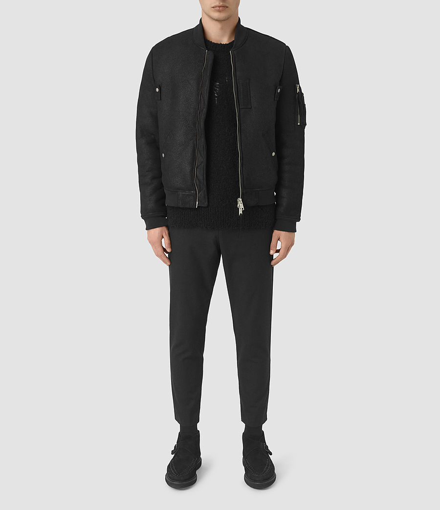 Mens Kio Shearling Bomber Jacket (black) - Image 1