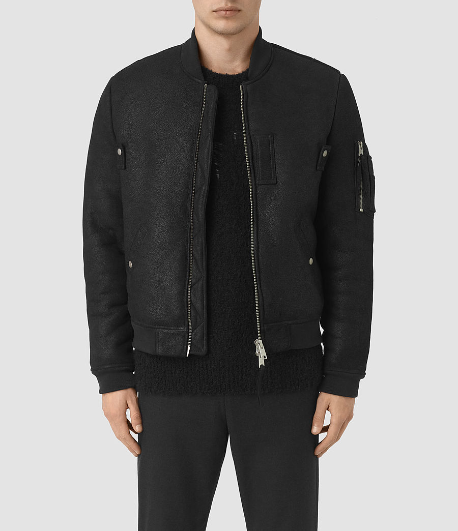 Mens Kio Shearling Bomber Jacket (black) - Image 2