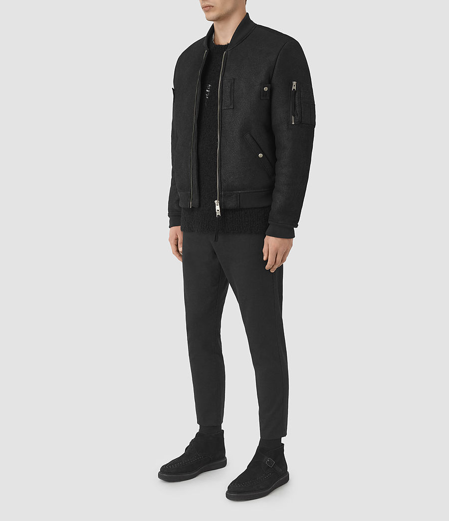 Mens Kio Shearling Bomber Jacket (black) - Image 3