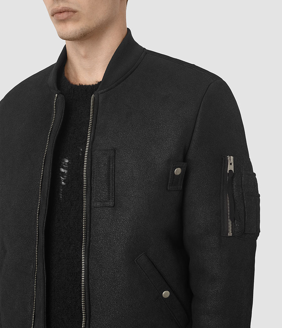 Mens Kio Shearling Bomber Jacket (black) - Image 4