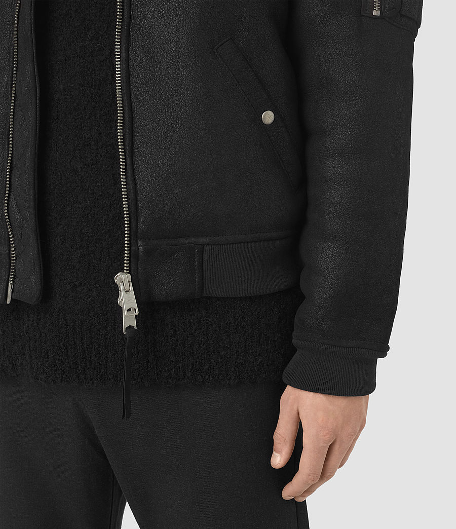 Mens Kio Shearling Bomber Jacket (black) - Image 5