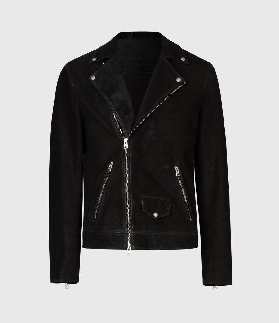 Men's Mauri Nubuck Biker Jacket (black) - Image 2