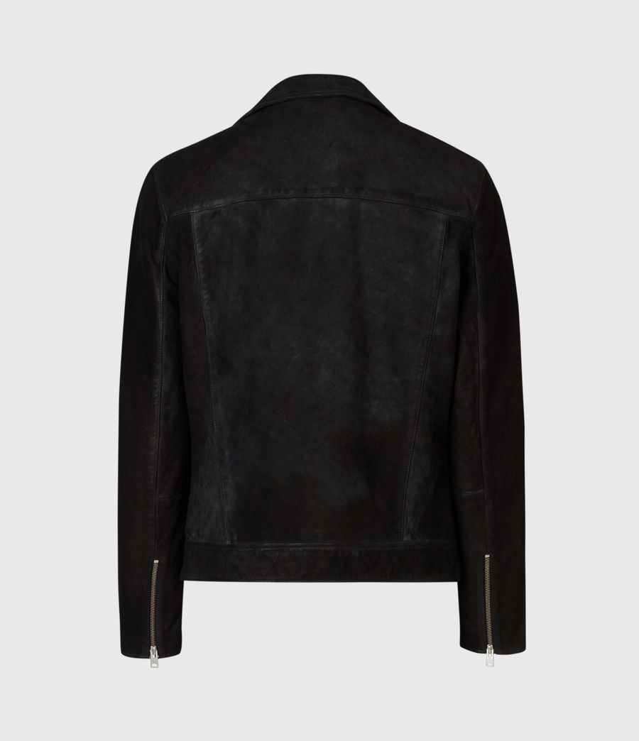 Men's Mauri Nubuck Biker Jacket (black) - Image 3