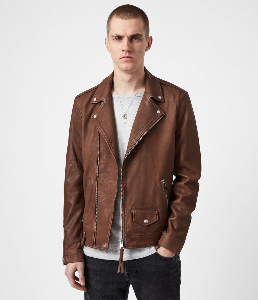 Men's Milo Leather Biker Jacket (tan_brown) - Image 1