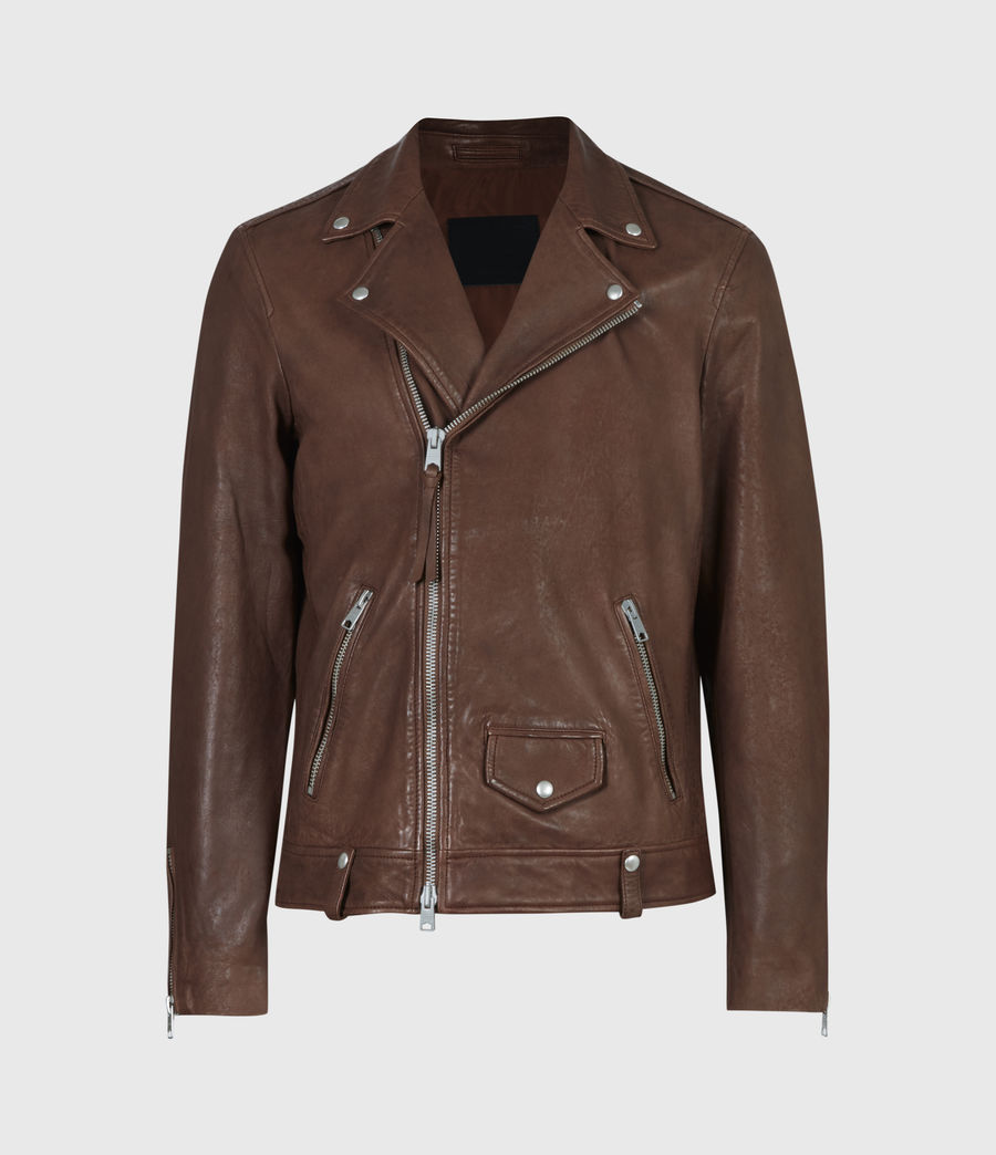 Men's Milo Leather Biker Jacket (tan_brown) - Image 2
