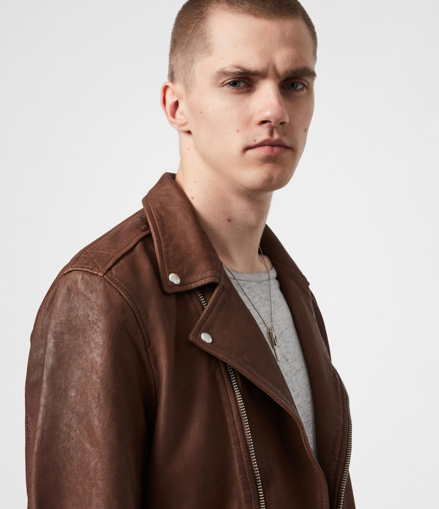 Men's Milo Leather Biker Jacket (tan_brown) - Image 4