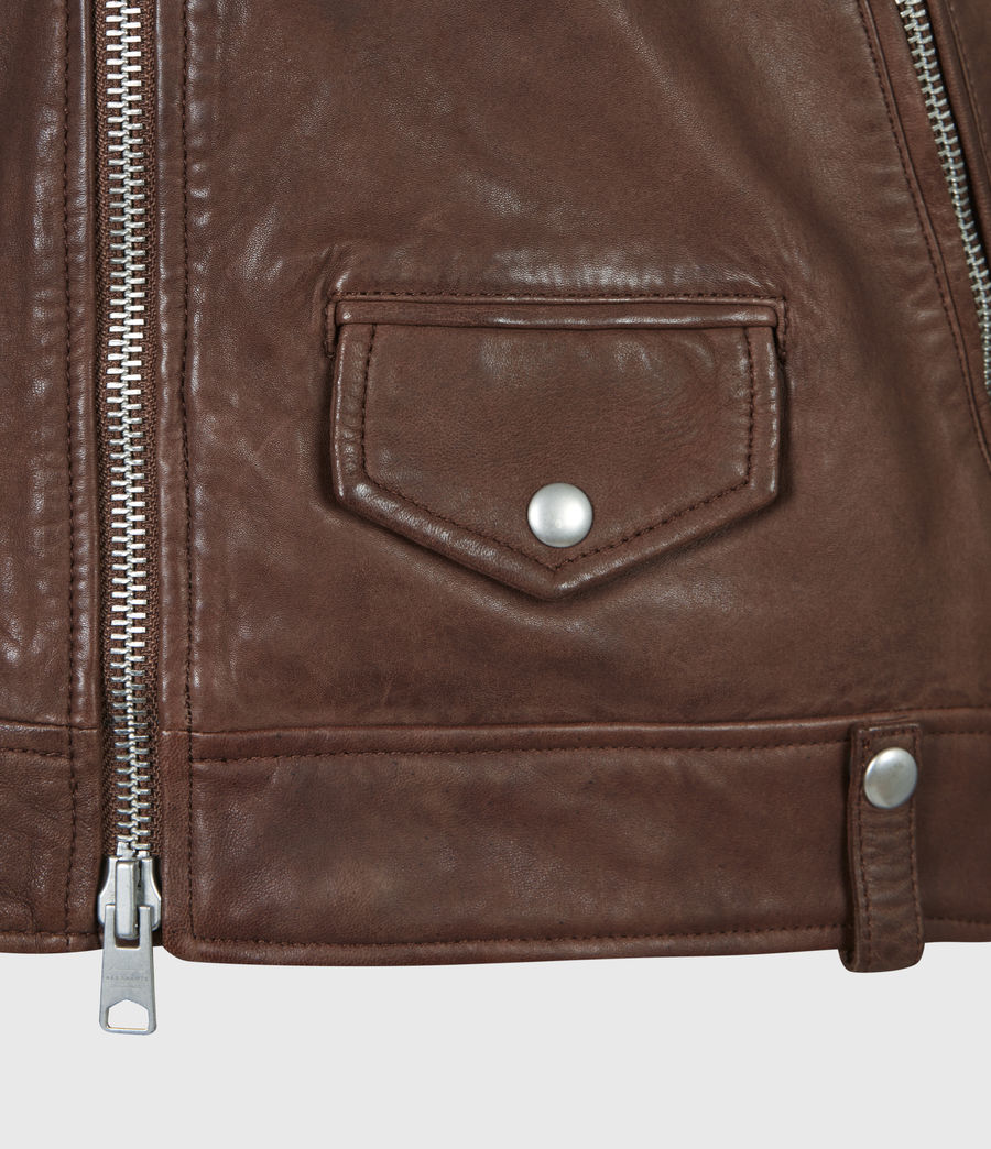 Men's Milo Leather Biker Jacket (tan_brown) - Image 6