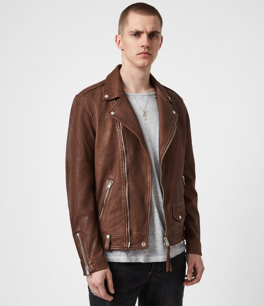 Men's Milo Leather Biker Jacket (tan_brown) - Image 7