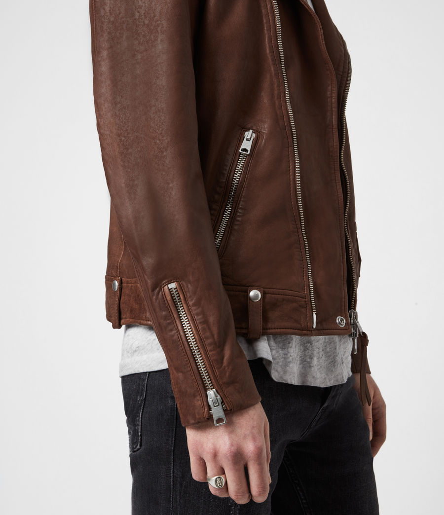 Men's Milo Leather Biker Jacket (tan_brown) - Image 8