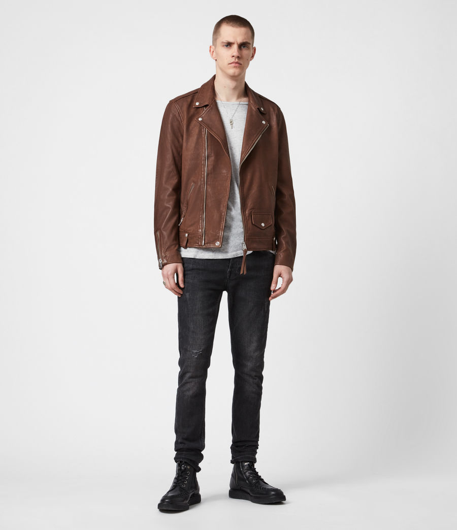 Men's Milo Leather Biker Jacket (tan_brown) - Image 9