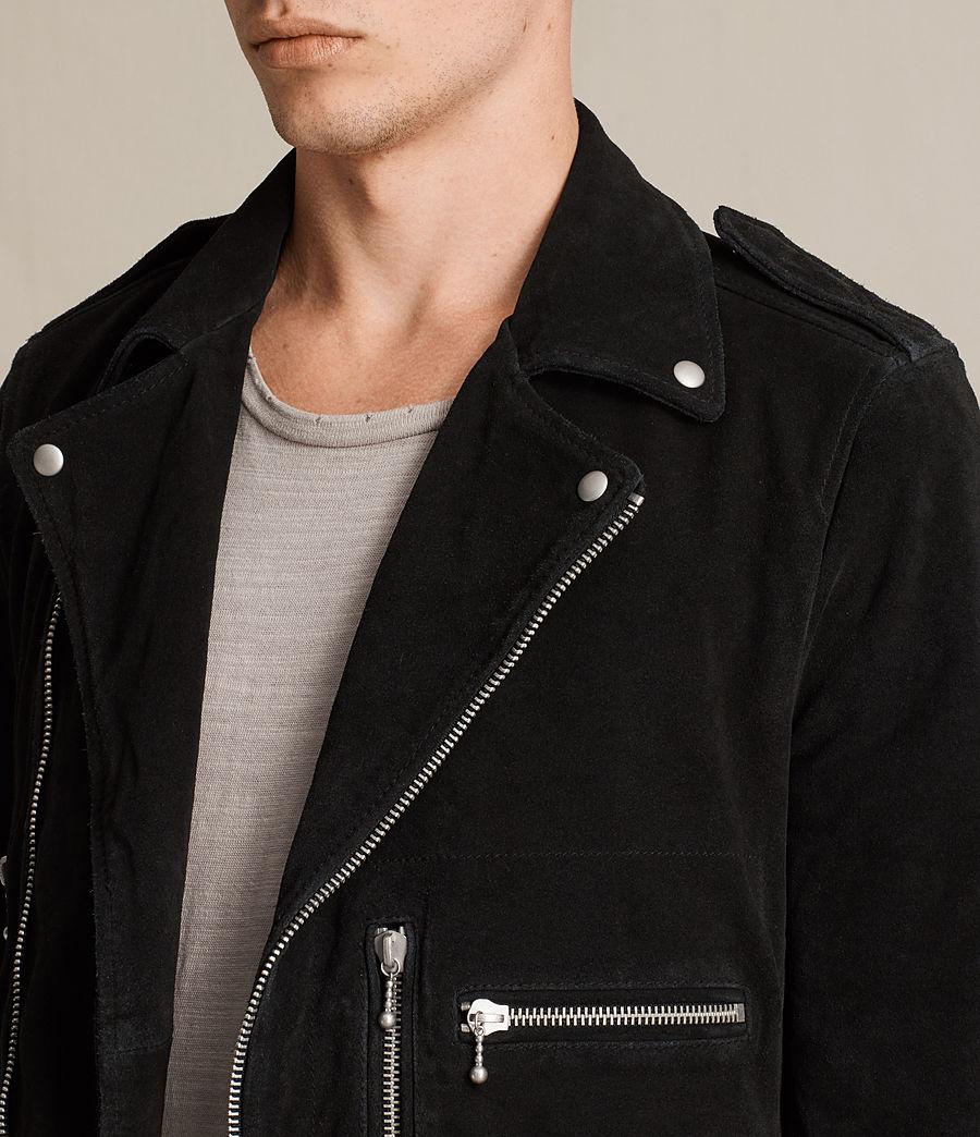 Mens Nash Suede Biker Jacket (washed_black) - Image 2