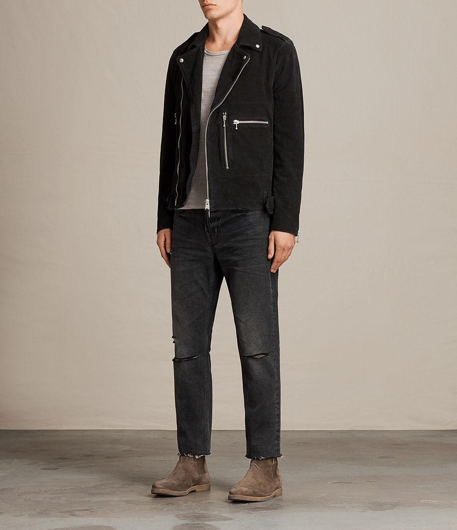 Mens Nash Suede Biker Jacket (washed_black) - Image 3