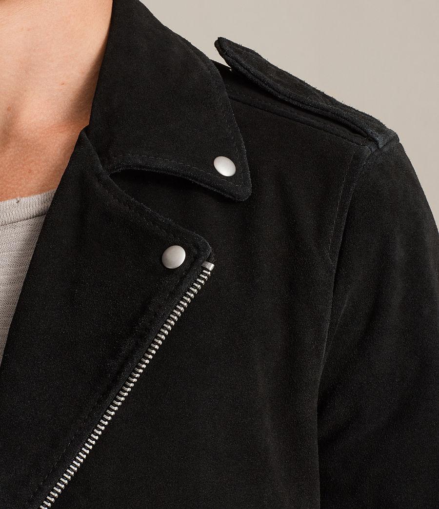 Mens Nash Suede Biker Jacket (washed_black) - Image 4