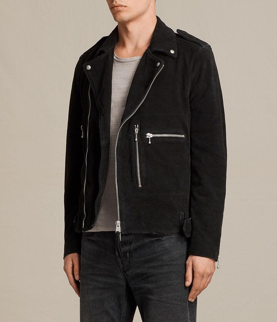 Mens Nash Suede Biker Jacket (washed_black) - Image 5