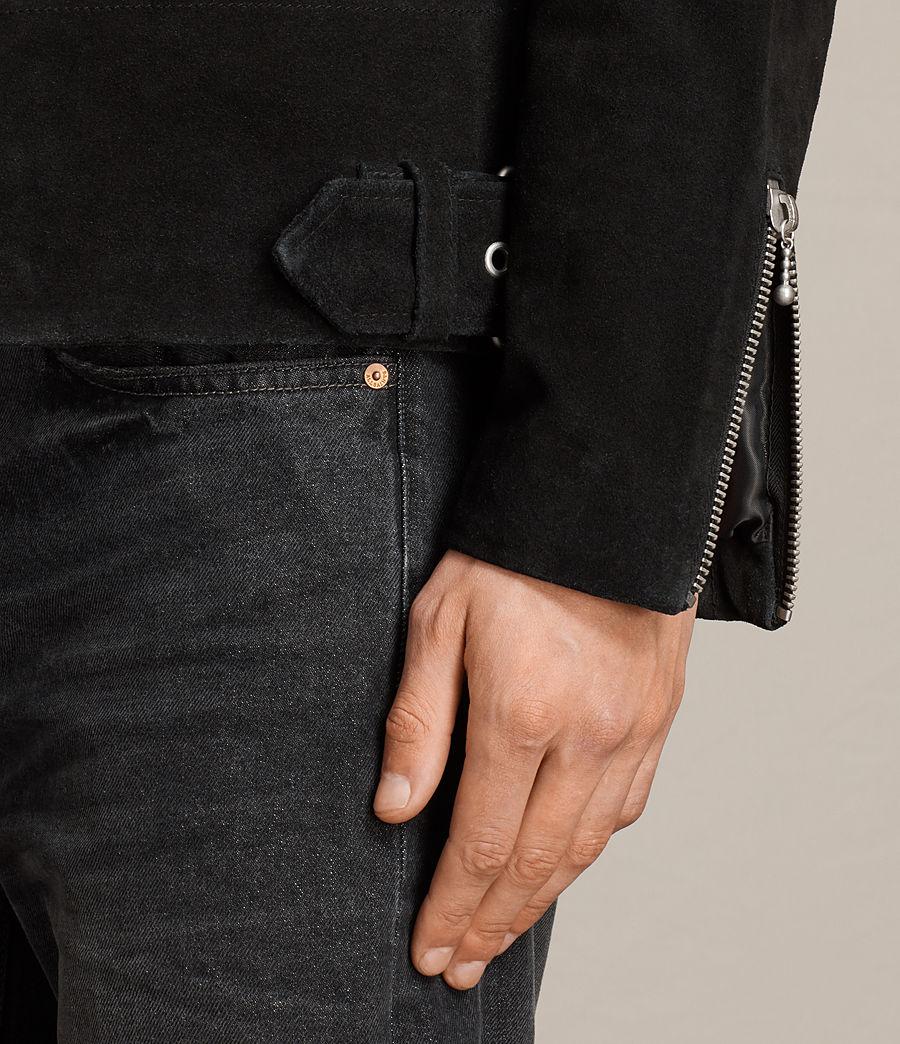 Mens Nash Suede Biker Jacket (washed_black) - Image 7