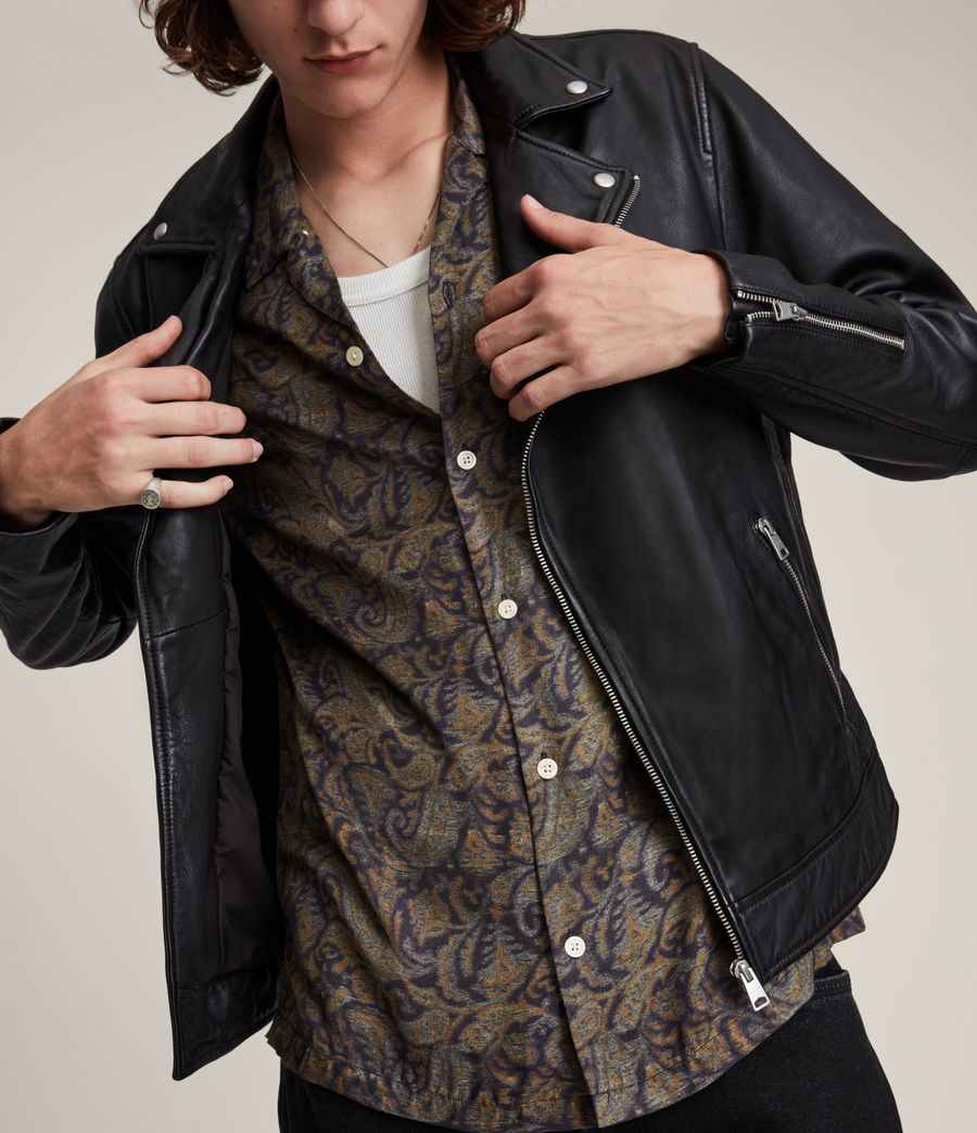 Men's Tyson Leather Biker Jacket (black) - Image 2