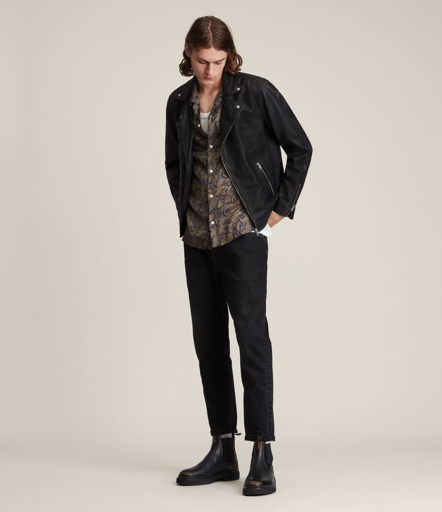 Men's Tyson Leather Biker Jacket (black) - Image 3