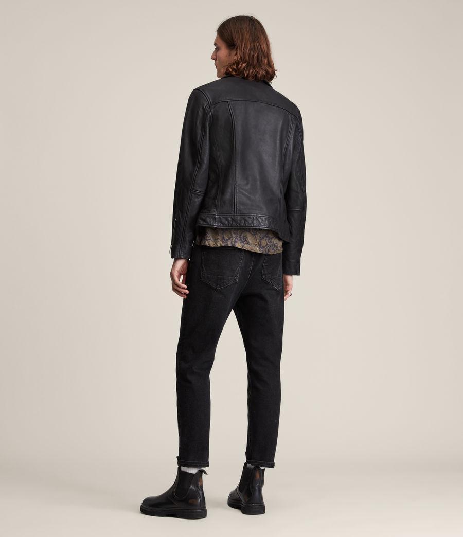 Mens Tyson Leather Biker Jacket (black) - Image 6