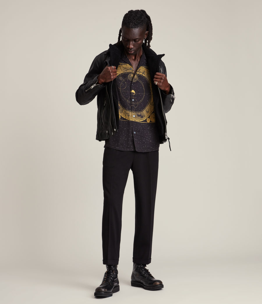 Herren Rix Shearling Leather Biker Jacket (black) - Image 3