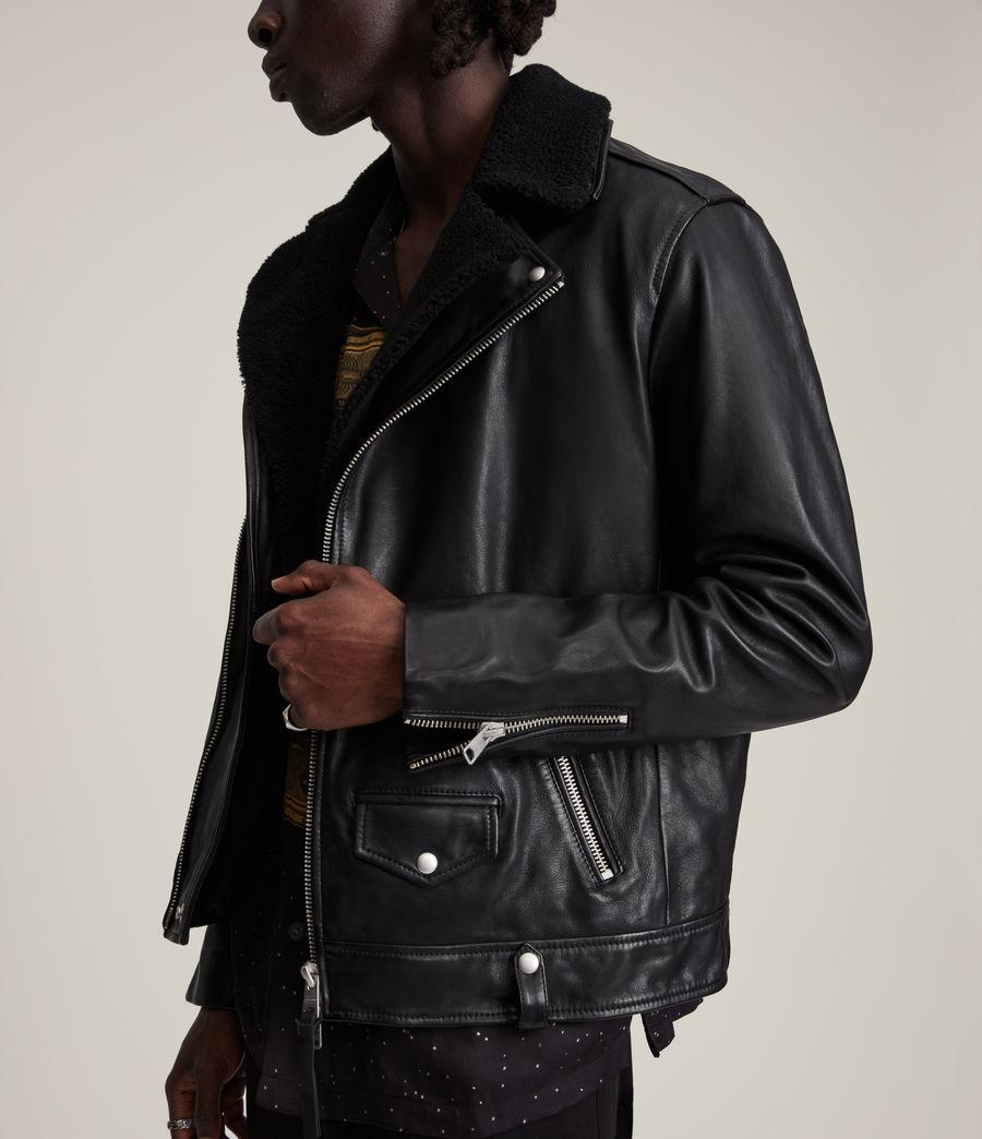Herren Rix Shearling Leather Biker Jacket (black) - Image 4
