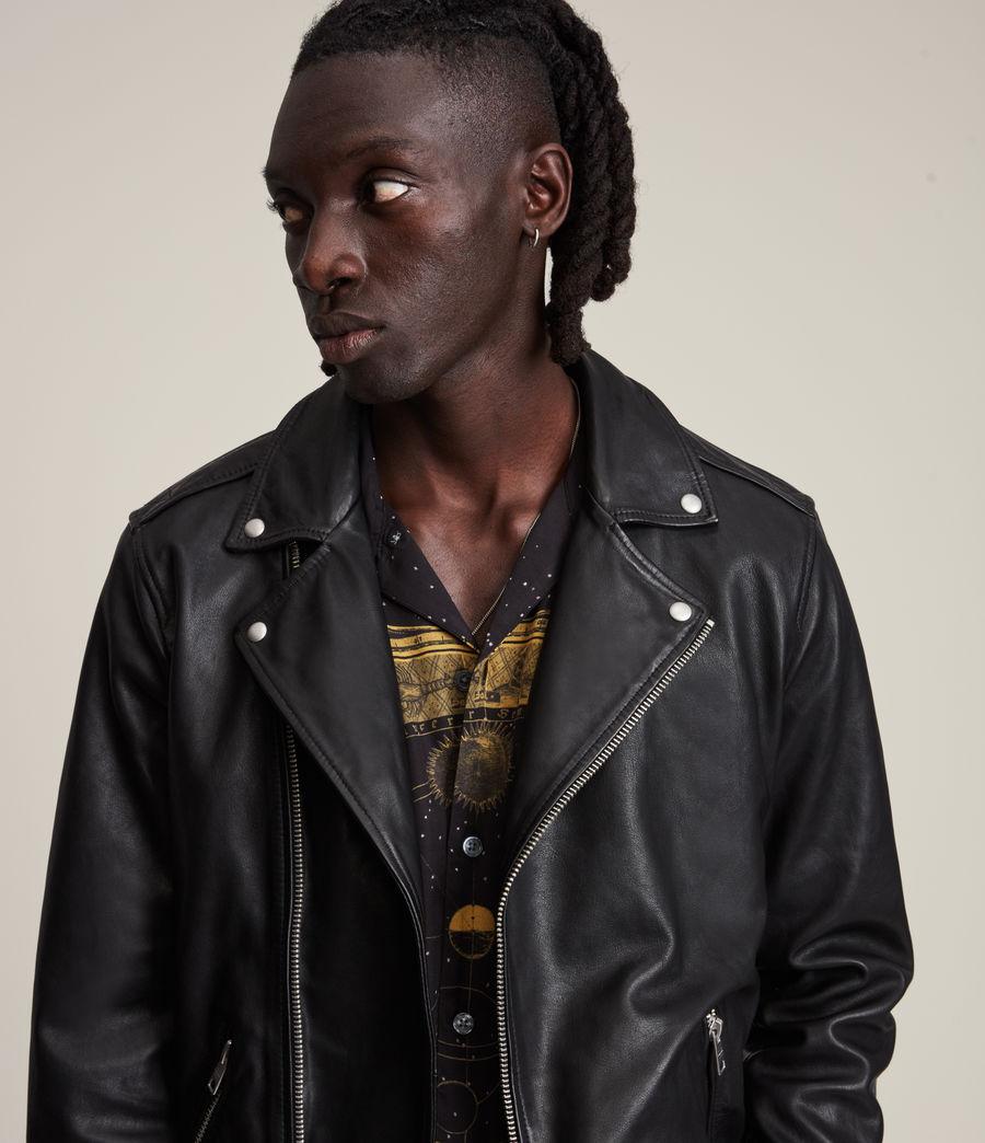 Herren Rix Shearling Leather Biker Jacket (black) - Image 6