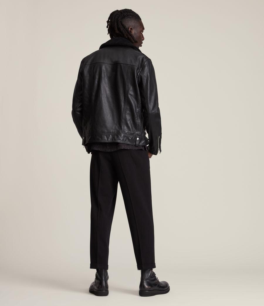 Herren Rix Shearling Leather Biker Jacket (black) - Image 7