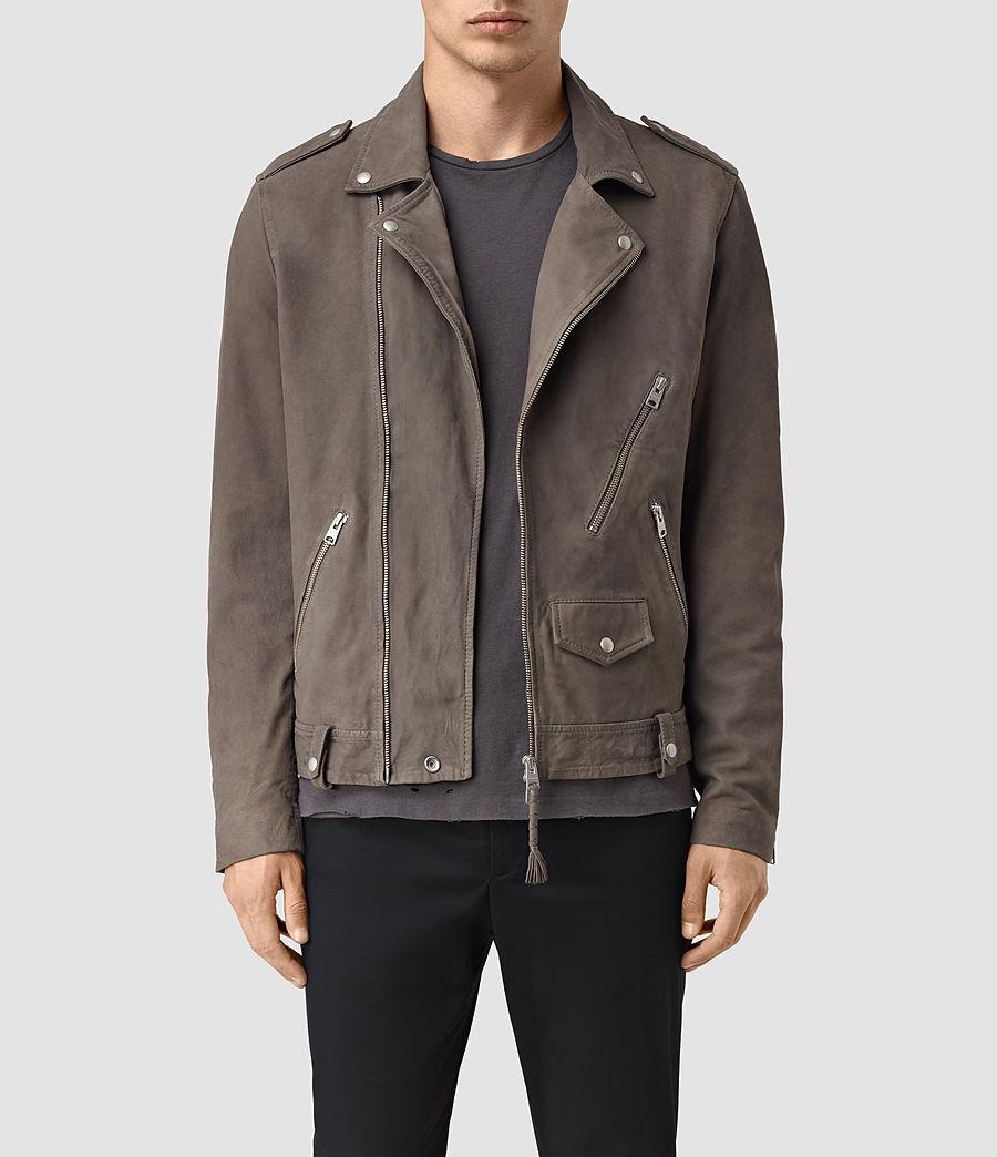 Mens Niko Leather Biker Jacket (steel_grey) - Image 1