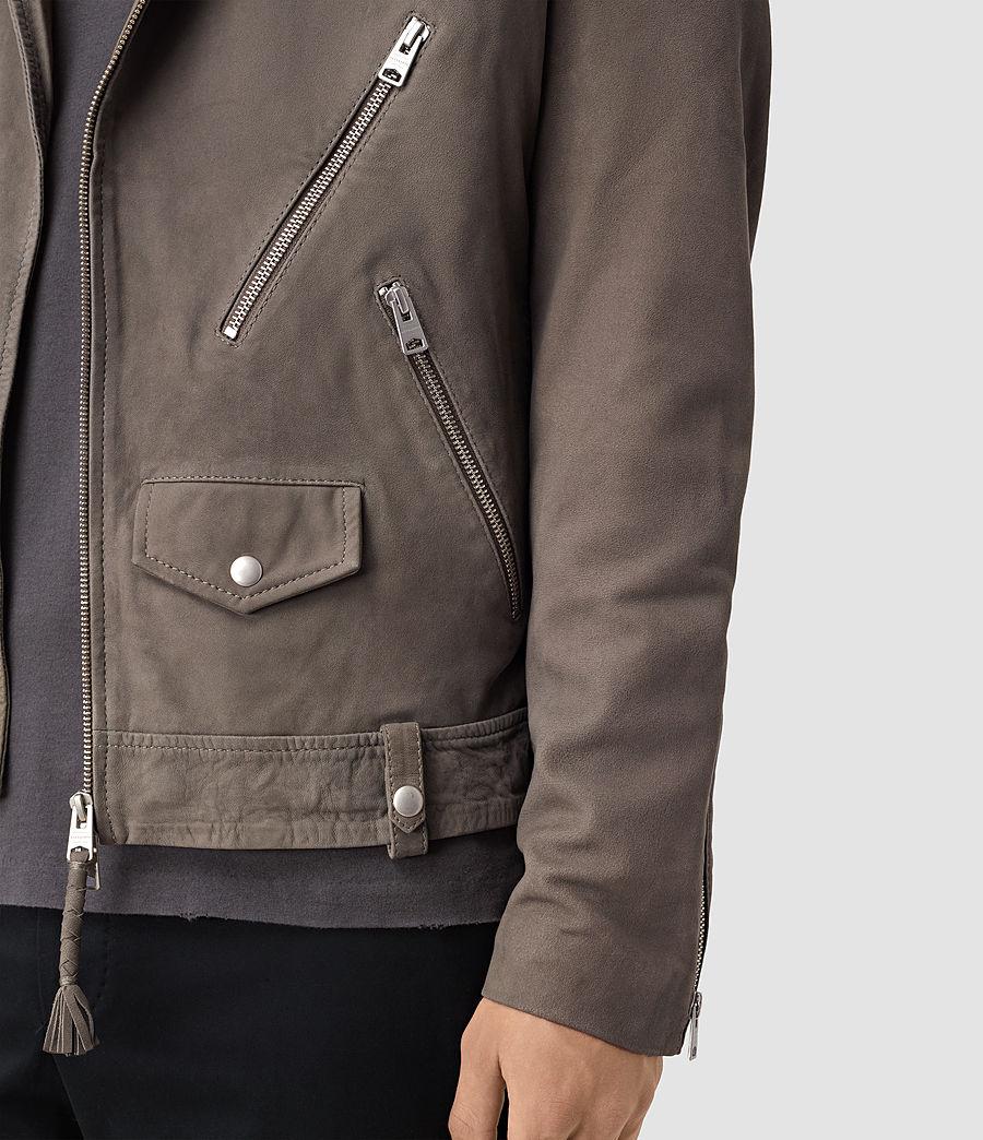 Mens Niko Leather Biker Jacket (steel_grey) - Image 2