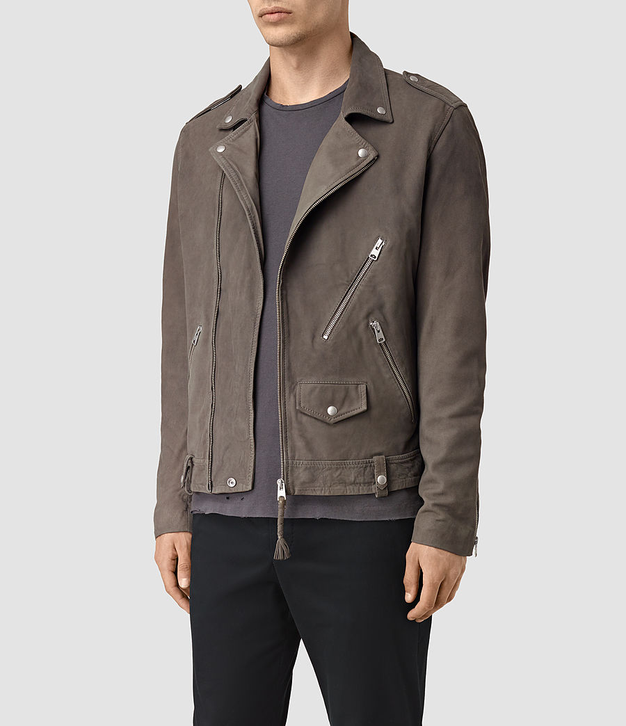 Mens Niko Leather Biker Jacket (steel_grey) - Image 3