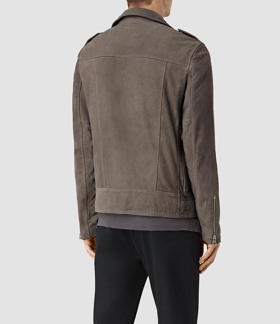 Mens Niko Leather Biker Jacket (steel_grey) - Image 4