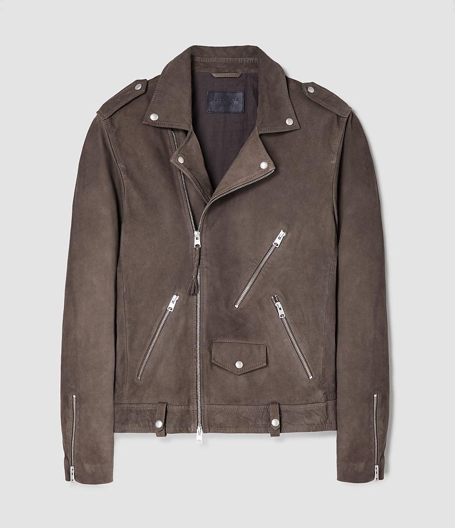 Mens Niko Leather Biker Jacket (steel_grey) - Image 5