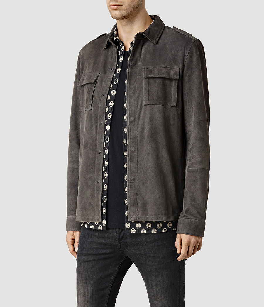 Men's Nassau Leather Shirt (anthracite) - Image 2