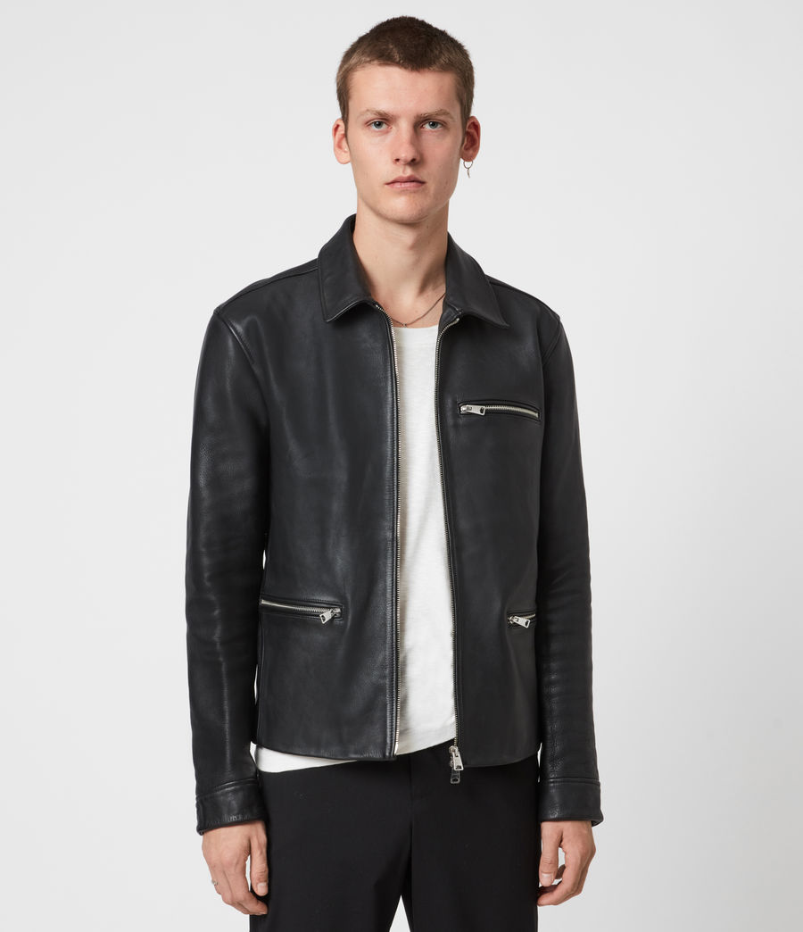 Mens Clay Leather Jacket (black) - Image 1