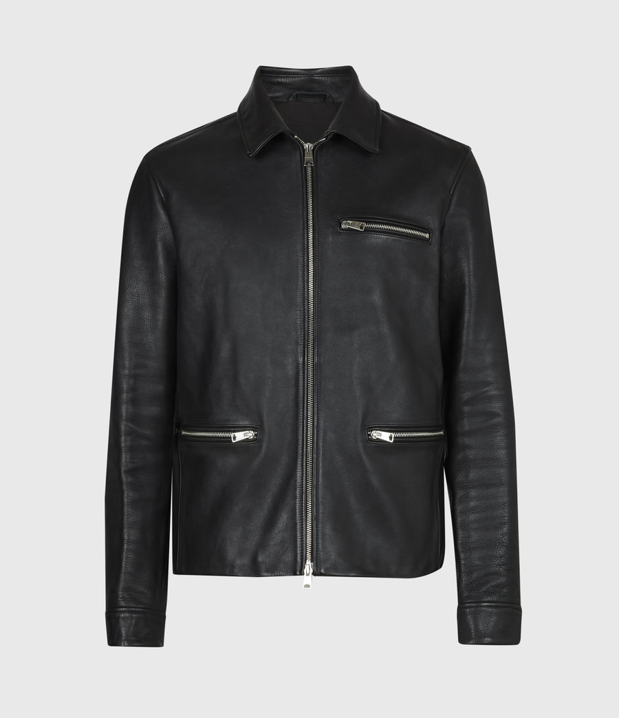 Mens Clay Leather Jacket (black) - Image 2