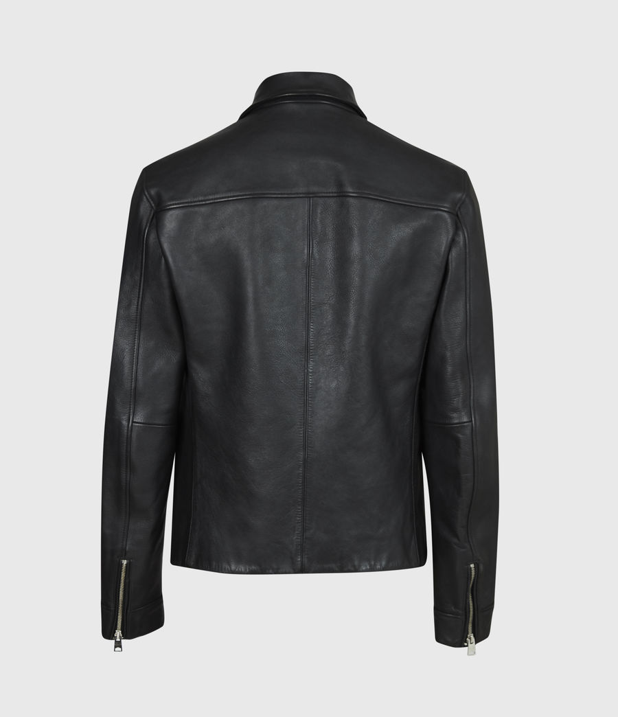 Mens Clay Leather Jacket (black) - Image 3