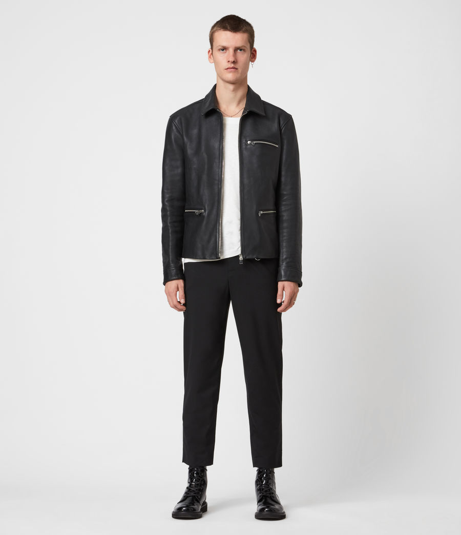 Mens Clay Leather Jacket (black) - Image 4