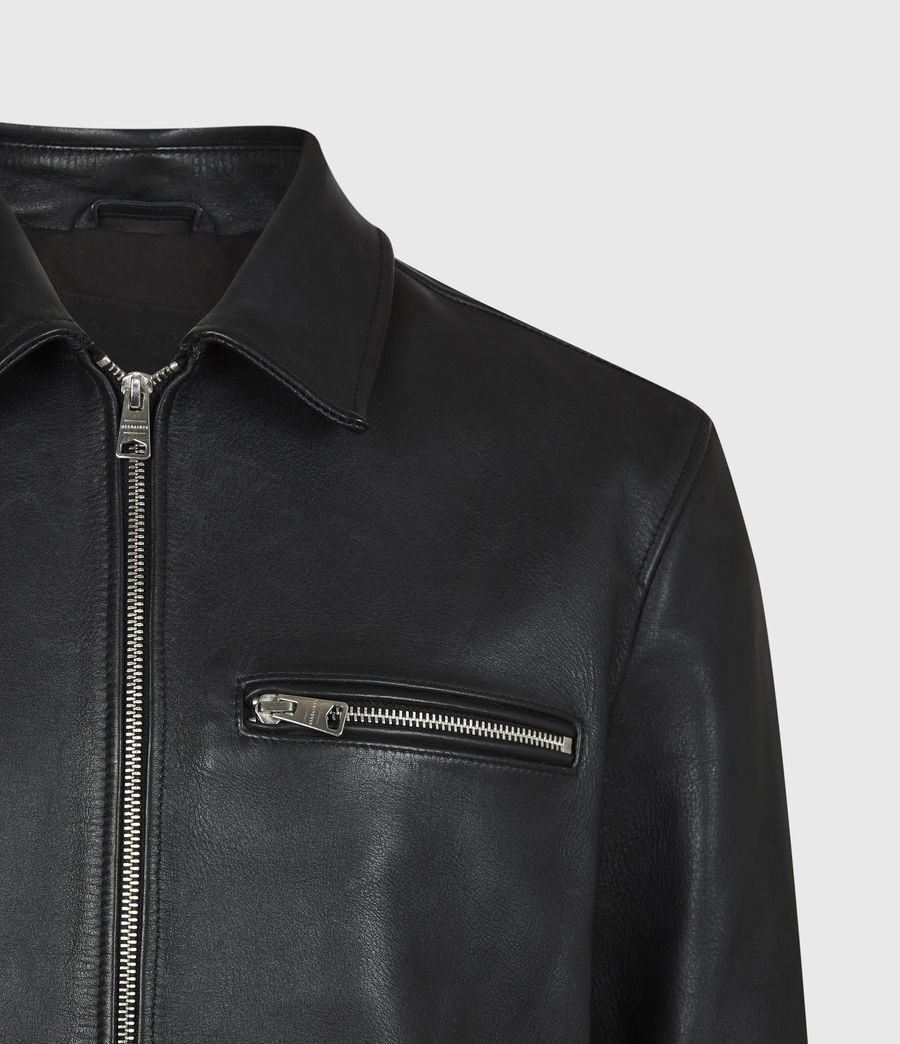 Mens Clay Leather Jacket (black) - Image 5