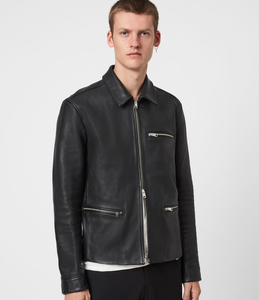Mens Clay Leather Jacket (black) - Image 6