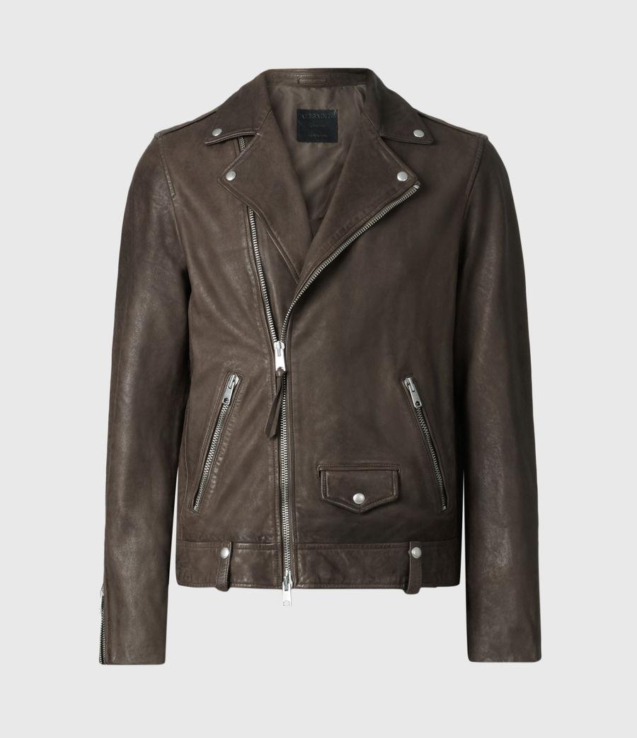 Mens Milo Leather Biker Jacket (bitter_brown) - Image 2