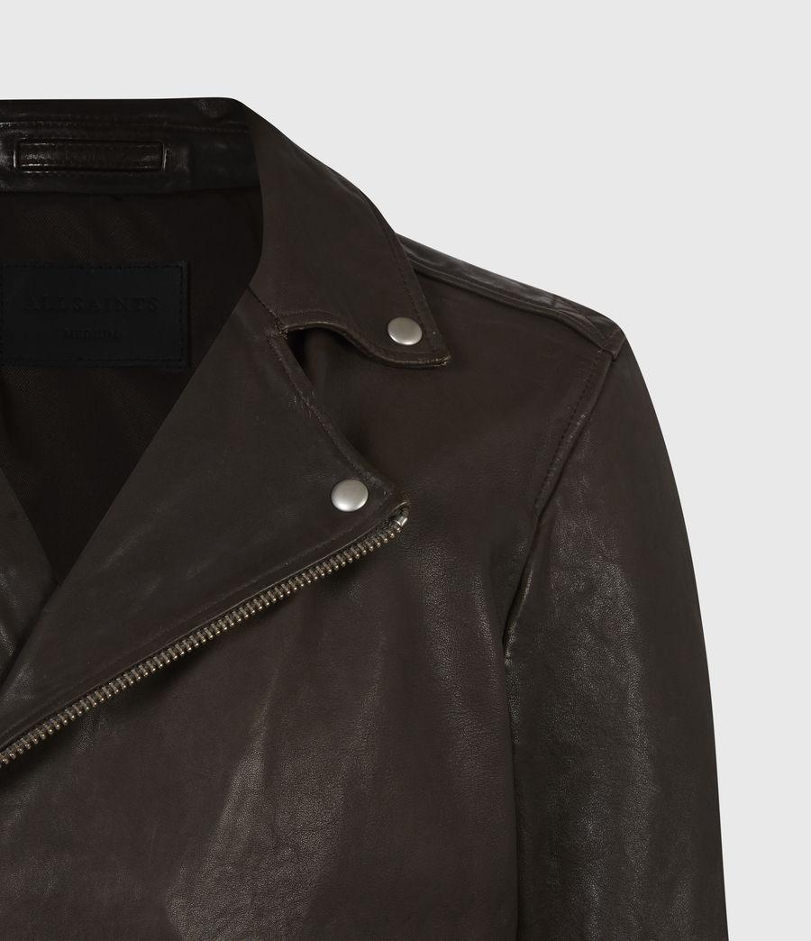 Mens Milo Leather Biker Jacket (bitter_brown) - Image 4