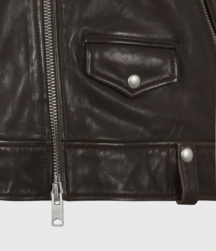 Mens Milo Leather Biker Jacket (bitter_brown) - Image 5