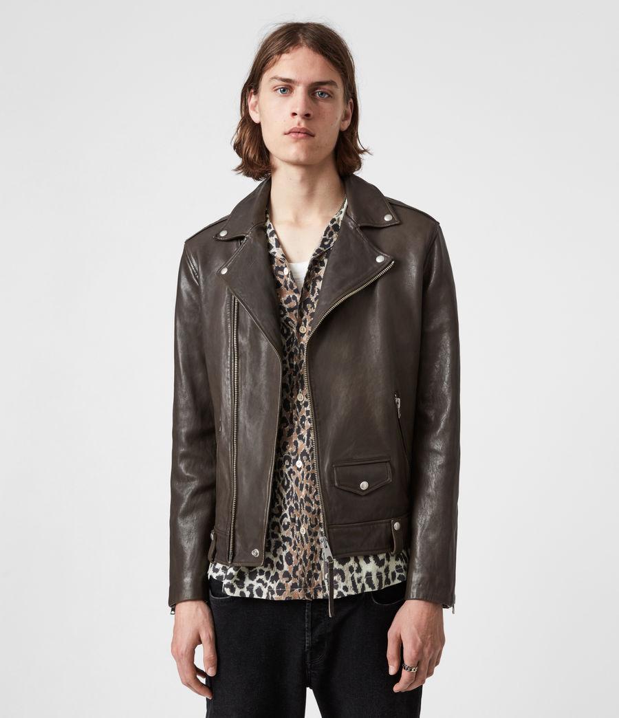 Mens Milo Leather Biker Jacket (bitter_brown) - Image 6