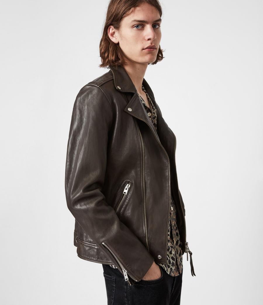 Mens Milo Leather Biker Jacket (bitter_brown) - Image 7