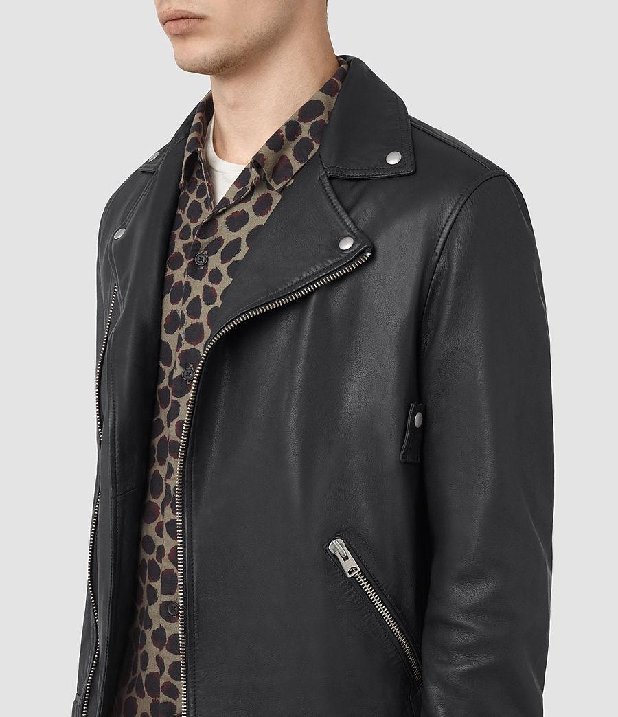 Mens Odell Leather Biker Jacket (ink_navy) - Image 3