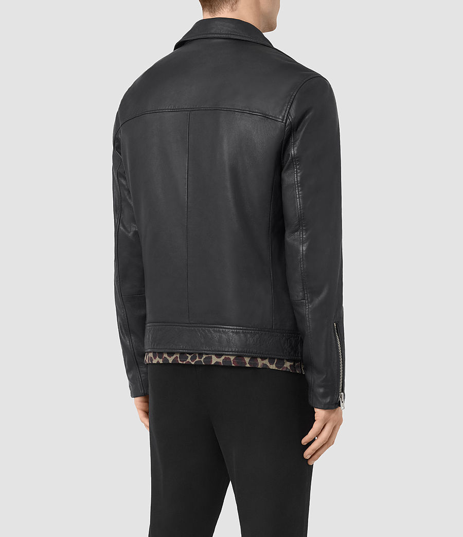 Mens Odell Leather Biker Jacket (ink_navy) - Image 5
