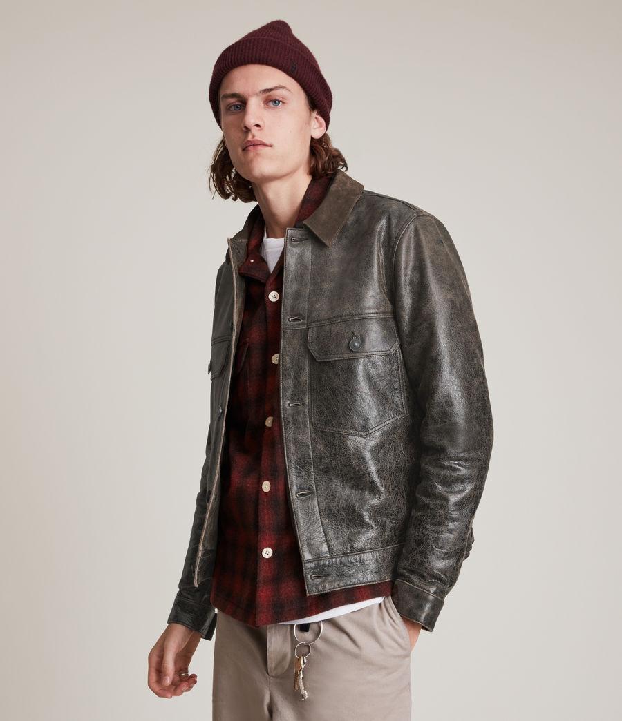 Hommes Naru Leather Jacket (black_brown) - Image 1