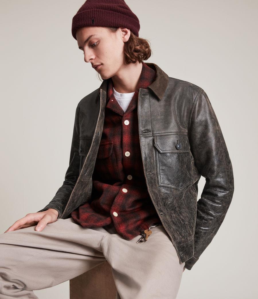 Hommes Naru Leather Jacket (black_brown) - Image 2