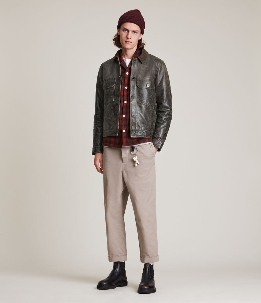 Hommes Naru Leather Jacket (black_brown) - Image 3