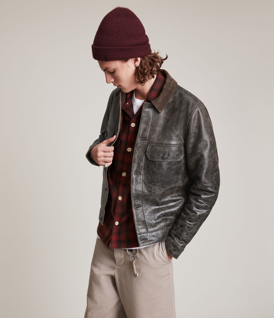 Hommes Naru Leather Jacket (black_brown) - Image 4