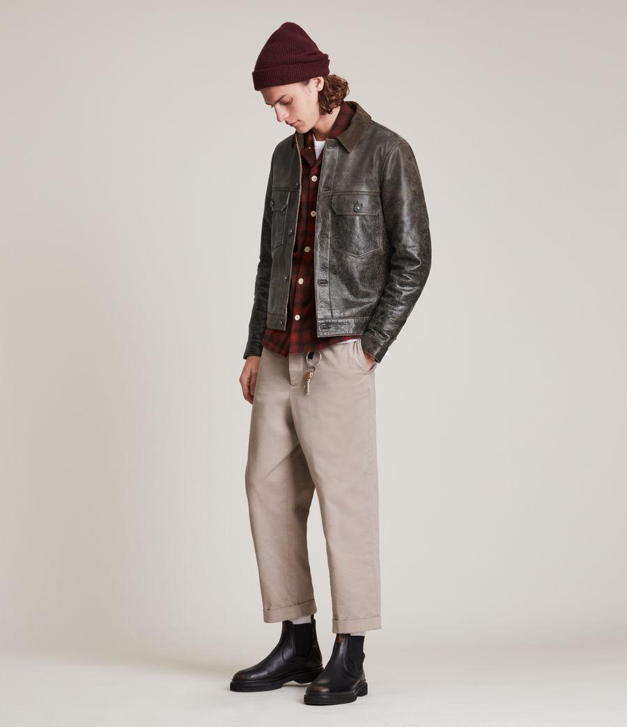 Hommes Naru Leather Jacket (black_brown) - Image 5